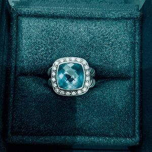 David Yurman Albion Ring w/ Blue Topaz + Diamonds